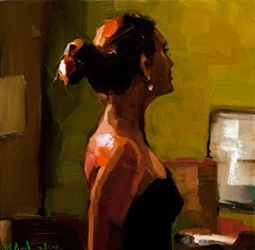 E B Gordon the green tea room oil on canvas